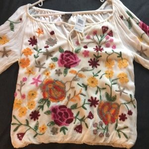 Chelsea & Theodore Embroidered Floral Boho Blouse